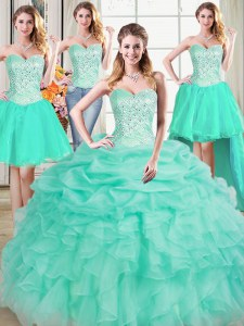 Dynamic Four Piece Floor Length Apple Green Vestidos de Quinceanera Organza Sleeveless Beading and Ruffles and Pick Ups