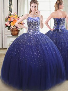 Decent Tulle Sleeveless Floor Length 15 Quinceanera Dress and Beading