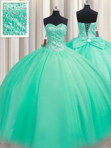 Sweetheart Sleeveless Lace Up Ball Gown Prom Dress Turquoise Tulle