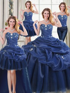 Fancy Four Piece Sleeveless Organza Floor Length Lace Up Quince Ball Gowns in Navy Blue with Appliques