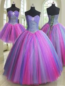 Enchanting Three Piece Multi-color Lace Up Sweetheart Beading Quinceanera Gowns Tulle Sleeveless