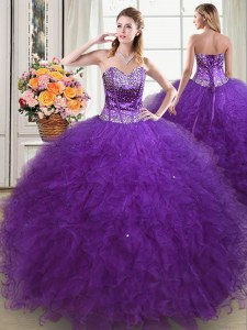 Perfect Eggplant Purple Quinceanera Dress Military Ball and Sweet 16 and Quinceanera and For with Beading and Ruffles Sweetheart Sleeveless Lace Up