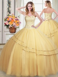 Gold Tulle Lace Up Sweetheart Sleeveless Floor Length Quince Ball Gowns Beading and Sequins
