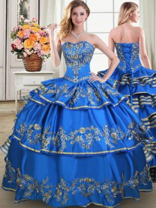 Blue Taffeta Lace Up Sweet 16 Quinceanera Dress Sleeveless Floor Length Beading and Embroidery and Ruffled Layers