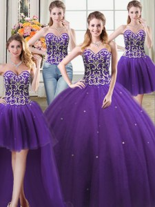 Flare Four Piece Sweetheart Sleeveless Lace Up Sweet 16 Quinceanera Dress Purple Tulle