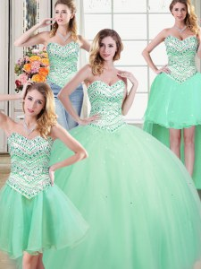 Elegant Four Piece Apple Green Sweetheart Neckline Beading Vestidos de Quinceanera Sleeveless Lace Up