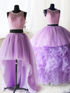 Three Piece Scoop Sleeveless Brush Train Zipper Quinceanera Gown Lilac Organza and Tulle