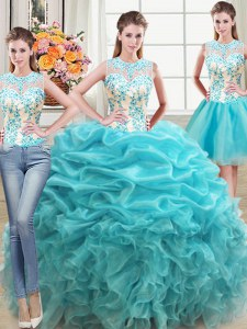 Three Piece Scoop Floor Length Aqua Blue Quinceanera Gown Organza Sleeveless Beading and Ruffles