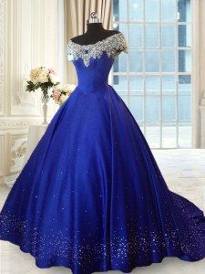 Royal Blue Lace Up Off The Shoulder Beading and Lace Sweet 16 Quinceanera Dress Satin Cap Sleeves