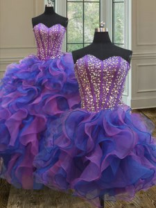 On Sale Three Piece Blue and Purple Sleeveless Organza Lace Up Ball Gown Prom Dress for Military Ball and Sweet 16 and Quinceanera