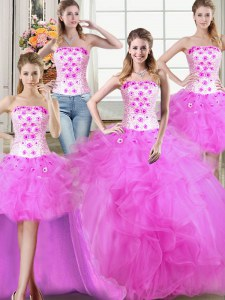 Luxurious Four Piece Fuchsia Tulle Lace Up Strapless Sleeveless Floor Length 15th Birthday Dress Beading and Appliques and Ruffles