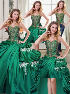 Adorable Four Piece Sleeveless Floor Length Beading and Appliques and Pick Ups Lace Up 15 Quinceanera Dress with Dark Green