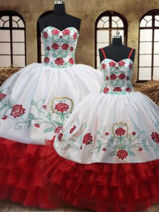 Adorable White And Red Organza Lace Up Sweet 16 Quinceanera Dress Sleeveless Floor Length Embroidery and Ruffled Layers