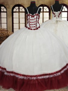 White And Red Ball Gowns Organza Straps Sleeveless Beading Floor Length Lace Up Sweet 16 Dress