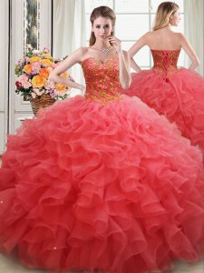 Floor Length Lace Up 15 Quinceanera Dress Coral Red for Military Ball and Sweet 16 and Quinceanera with Beading and Ruffles