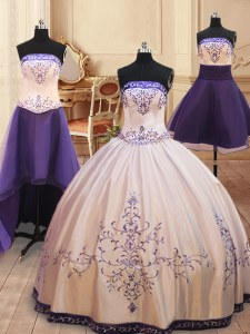 Classical Four Piece White Ball Gowns Strapless Sleeveless Satin Floor Length Zipper Beading and Embroidery Quinceanera Dress