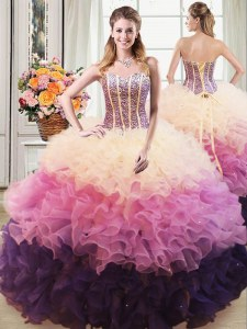 Admirable Beading and Ruffles Sweet 16 Dresses Multi-color Lace Up Sleeveless Floor Length