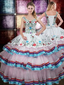 Affordable Straps Multi-color Sleeveless Beading and Embroidery Floor Length 15 Quinceanera Dress