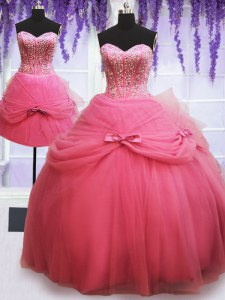 Fashionable Three Piece Rose Pink Sweetheart Lace Up Beading and Bowknot Quinceanera Gowns Sleeveless