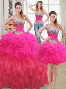Fashion Three Piece Organza Sleeveless Floor Length Quinceanera Dresses and Beading and Ruffles and Ruffled Layers and Sequins