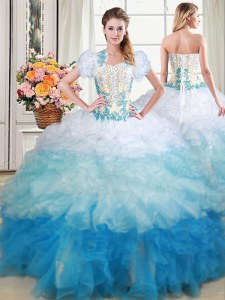 Multi-color Sleeveless Organza Brush Train Lace Up 15th Birthday Dress for Military Ball and Sweet 16 and Quinceanera