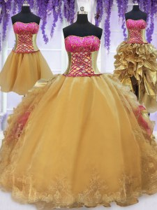 Four Piece Sleeveless Brush Train Beading and Lace and Ruffles Lace Up Quinceanera Gowns