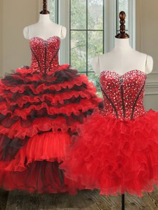 Hot Sale Three Piece Organza Sleeveless Floor Length Quinceanera Gown and Beading and Ruffled Layers