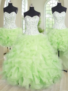 Flare Four Piece Yellow Green Organza Lace Up 15 Quinceanera Dress Sleeveless Floor Length Beading and Ruffles