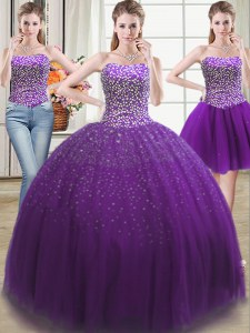 Extravagant Three Piece Purple Ball Gowns Sweetheart Sleeveless Tulle Floor Length Lace Up Beading Sweet 16 Quinceanera Dress