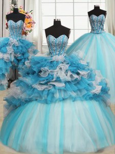 Sophisticated Sleeveless Floor Length Beading and Ruffles Lace Up Quinceanera Gown with Blue And White