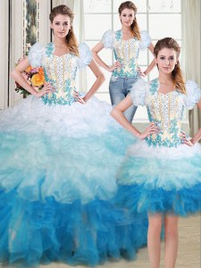 Graceful Three Piece Sweetheart Sleeveless Sweet 16 Dresses Floor Length Beading and Appliques Multi-color Organza