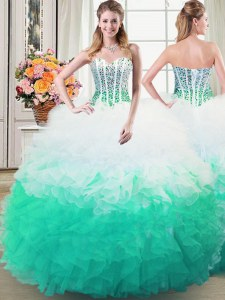 Latest Ball Gowns Quinceanera Gown Multi-color Sweetheart Organza Sleeveless Floor Length Lace Up