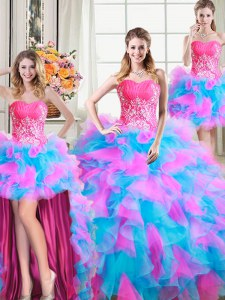 Four Piece Floor Length Zipper Sweet 16 Dresses Multi-color for Military Ball and Sweet 16 and Quinceanera with Beading and Ruffles