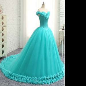 Most Popular Off the Shoulder With Train Aqua Blue 15th Birthday Dress Tulle Court Train Cap Sleeves Hand Made Flower