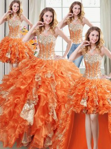 Modest Four Piece Orange Ball Gowns Sweetheart Sleeveless Organza Floor Length Lace Up Beading and Ruffles and Sequins Quinceanera Gown
