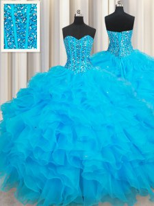 Organza Sweetheart Sleeveless Lace Up Beading and Ruffles Quinceanera Dress in Baby Blue