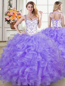Straps Sleeveless Sweet 16 Dresses Floor Length Beading and Lace and Ruffles Lavender Organza