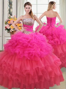 Top Selling Multi-color Strapless Neckline Beading and Ruffles and Ruffled Layers and Sequins Vestidos de Quinceanera Sleeveless Lace Up