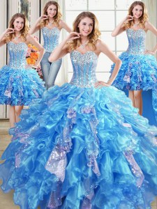 Four Piece Floor Length Lace Up Vestidos de Quinceanera Baby Blue for Military Ball and Sweet 16 and Quinceanera with Beading and Ruffles and Sequins