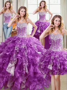 High Class Four Piece Purple Sleeveless Beading and Ruffles and Sequins Floor Length Quince Ball Gowns