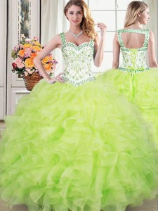 Gorgeous Straps Yellow Green Ball Gowns Beading and Lace and Ruffles Ball Gown Prom Dress Lace Up Organza Sleeveless Floor Length
