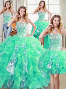 Artistic Four Piece Sequins Turquoise Sleeveless Organza Lace Up Quince Ball Gowns for Military Ball and Sweet 16 and Quinceanera