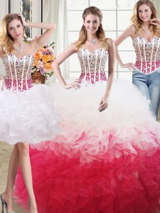Great Three Piece White and Red Sleeveless Organza Lace Up Sweet 16 Dress for Military Ball and Sweet 16 and Quinceanera