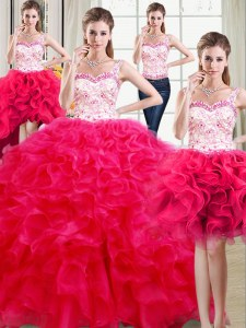 Four Piece Hot Pink Straps Neckline Beading and Ruffles Quinceanera Dresses Sleeveless Lace Up