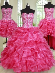 Chic Four Piece Organza Sweetheart Sleeveless Lace Up Beading and Ruffles Quinceanera Gowns in Hot Pink