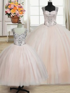 Customized Straps Pink Zipper Quinceanera Dresses Beading Sleeveless Floor Length