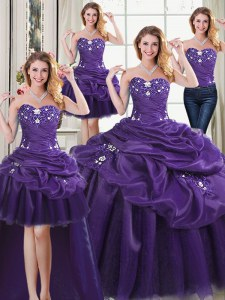 Attractive Four Piece Purple Vestidos de Quinceanera Military Ball and Sweet 16 and Quinceanera and For with Beading and Appliques and Pick Ups Sweetheart Sleeveless Lace Up
