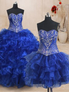 Three Piece With Train Ball Gowns Sleeveless Royal Blue Quinceanera Dress Brush Train Lace Up
