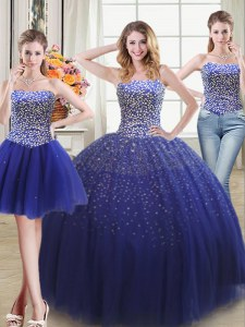 Custom Design Three Piece Sweetheart Sleeveless Lace Up Sweet 16 Dresses Royal Blue Tulle