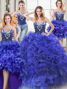 Customized Four Piece Royal Blue Sweetheart Neckline Beading and Ruffles Sweet 16 Dresses Sleeveless Lace Up